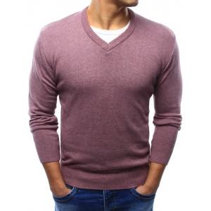 Moderné pánske svetre ružovej farby s véčkovým výstrihom