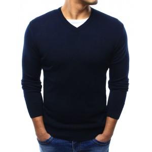 Jednoduchý tmavo modrý pánsky sveter s véčkovým výstrihom na každú príležitosť