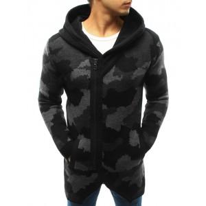 Moderné pánske ARMY svetre v čiernej farbe s kapucňou a zipsom