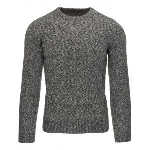 Ležérny pánsky sivý sveter s okrúhlym výstrihom a zrnitým vzorom