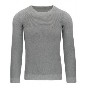 Pohodlné sivé pánske svetre s okrúhlym výstrihom a jemným vzorom