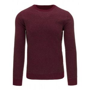 Vzorovaný bavlnený pánsky sveter cez hlavu v bordovej farbe na každý deň