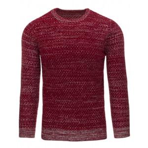 Ležérny pánsky sveter bordovej farby s pleteným vzorom