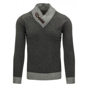 Moderný tmavo sivý pánsky sveter so stojatým golierom a prackou