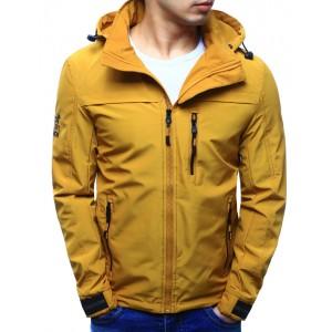 Pánske bundy do pásu v žltej farbe so zapínaním na zips