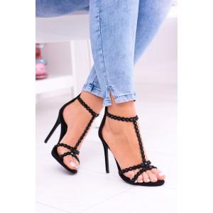 Sexi sandále na vysokom a tenkom podpätku čiernej farby