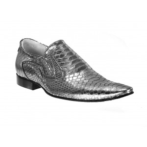 Pánske kožené extravagantné topánky strieborné ID:586