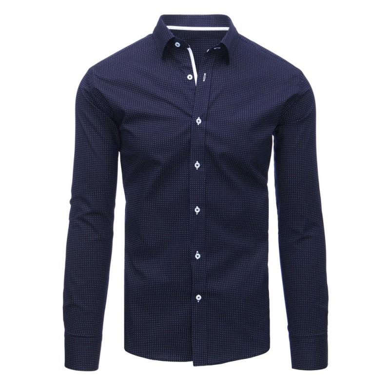 9ca1be6ac8cc Pánska bodkovaná košeľa modrej farby