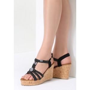 Čierne sandále na korkovej platforme