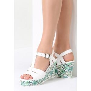 Sandále na platforme so zelenými kvetmi