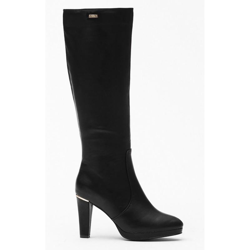 Dámske čižmy na vysokom opätku čiernej farby - fashionday.eu 21ee85e3946
