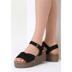 Dámske sandále s platformou čierne