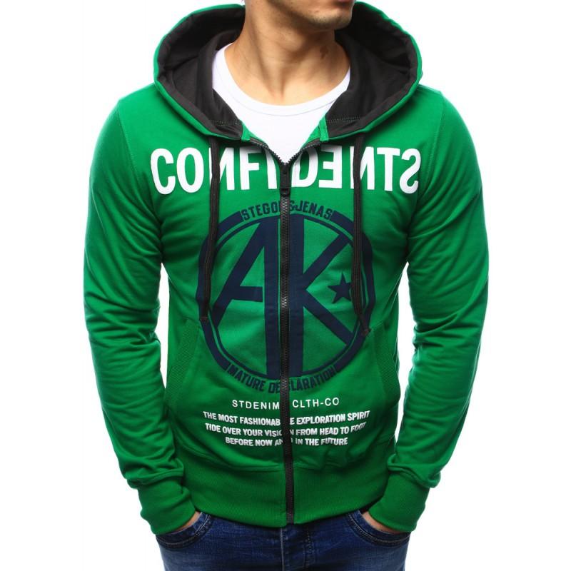 Štylové mikiny pánske zelenej farby 2da49a2ee3f