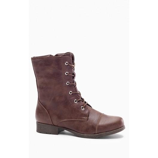 Dámske šnurovacie zimné topánky hnedé