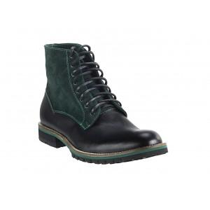 Pánske kožené čižmy zeleno-čierne