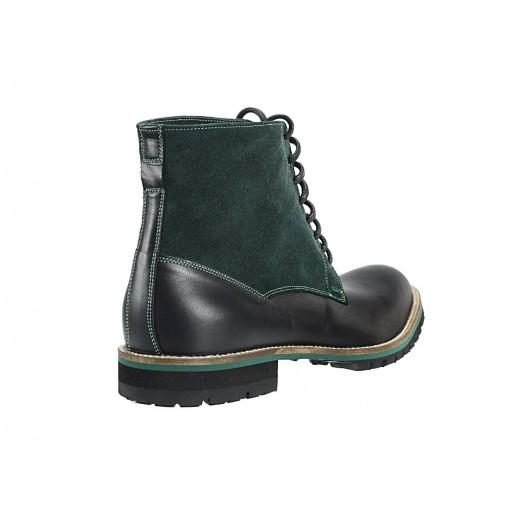Pánske kožené čižmy zeleno-čierne ID:456