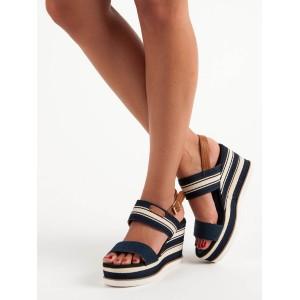 Tmavomodré sandále s prackou