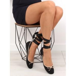 Balerínky čierne s viazaním okolo nohy