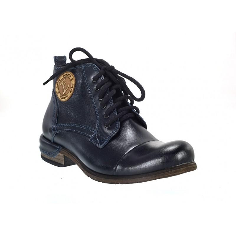 Pánske kožené čižmy tmavo-modré - fashionday.eu 9b8efee5fd0