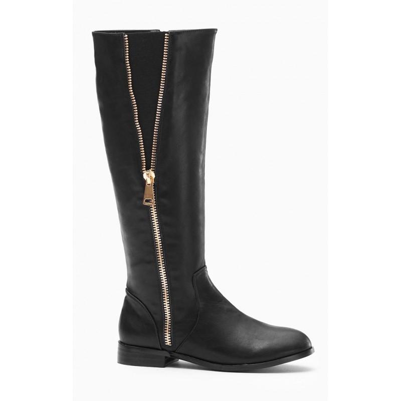 29be275bfedd Dámske čižmy čiernej farby so zlatým zipsom - fashionday.eu