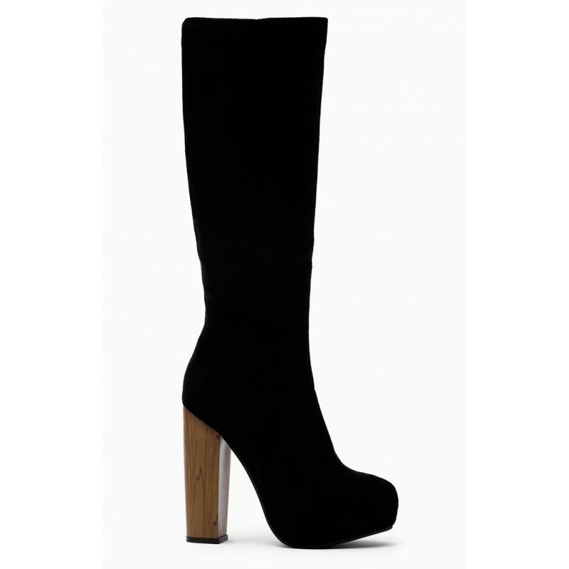 b068fc6982eb Dámske semišové čižmy čiernej farby - fashionday.eu