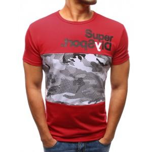 fcfc8d8681cb Pánske tričká krátky rukáv červenej farby s koženým vreckom ...