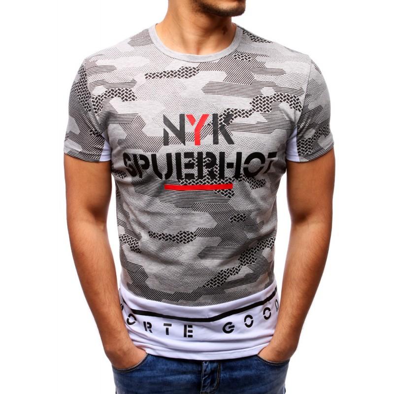 56dc4f9ddb49 Pánske maskáčové tričko sivej farby