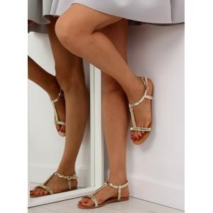 Zlaté sandále nízke