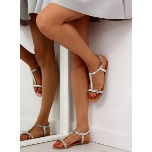 Strieborné sandále s prackou