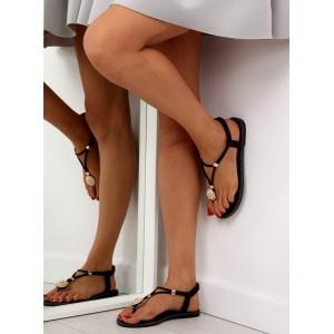 Sandále na nízkom opätku čierne