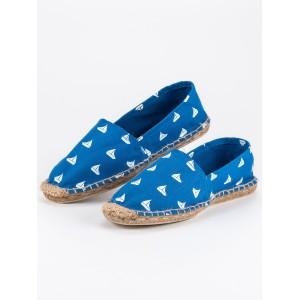 Espadrilky modrej farby s bielym vzorom