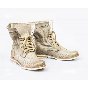 Dámske kožené topánky cappuccino DT001