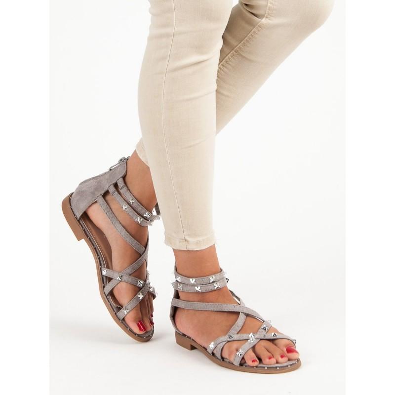 e88371df2e93 Nízke sandále sivej farby s vybíjaním