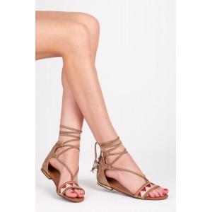 Sandále gladiátorky v béžovej farbe