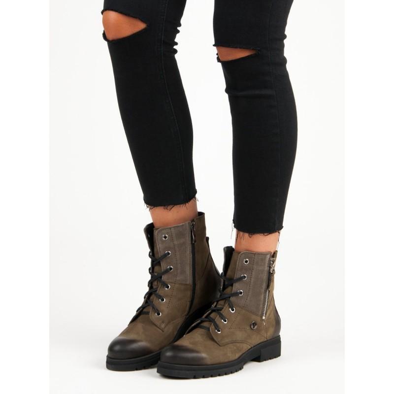 Dámske šnurovacie topánky hnedé f7ee5b33105