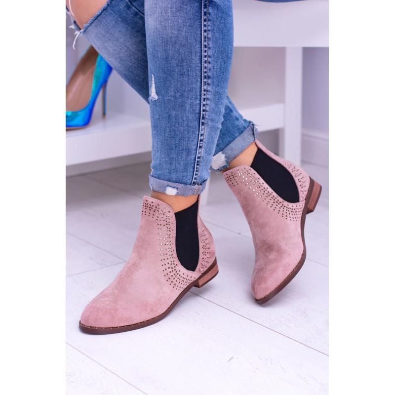 Dámska obuv členková v ružovej farbe f0acb9f1871