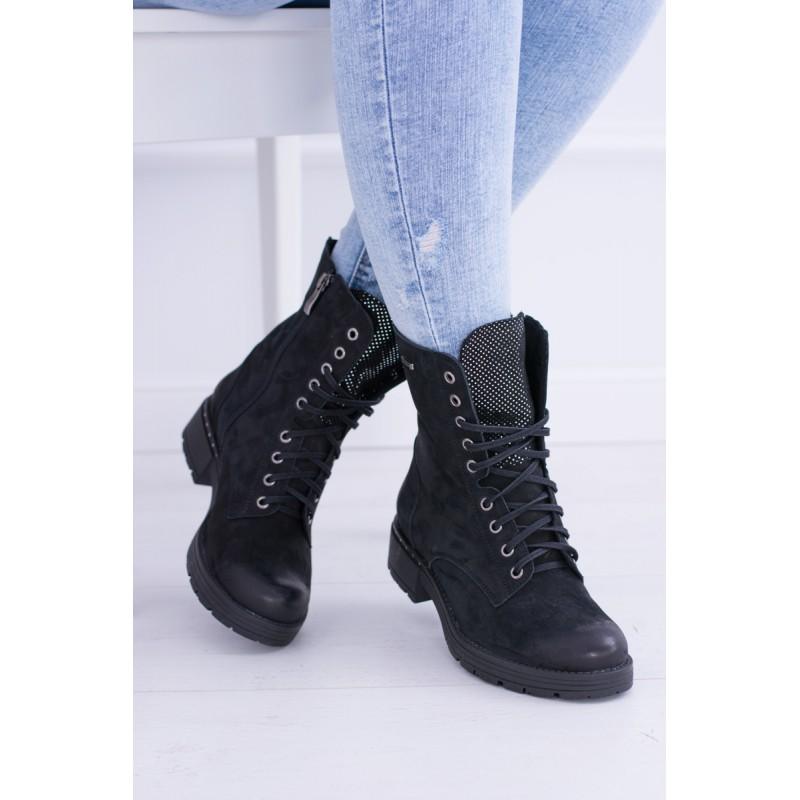 4fa7dcc3e6bf Dámske šnurovacie topánky v čiernej farbe
