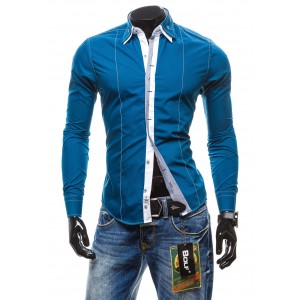 Pánska košeľa s dlhým rukávom modrej farby