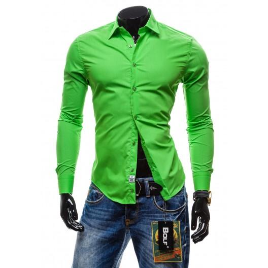 Pánska košeľa s dlhým rukávom zelenej farby
