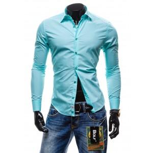 Pánska košeľa s dlhým rukávom vo farbe modrý tyrkys