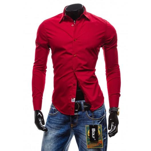Pánska košeľa s dlhým rukávom bordovej farby