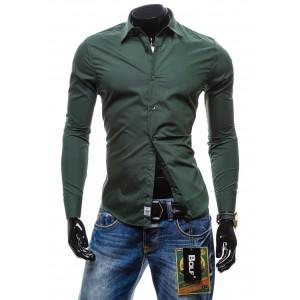 Pánska košeľa s dlhým rukávom grafitovo zelenej farby