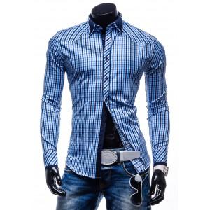 Pánska kockovaná košeľa s dlhým rukávom nebeskej farby
