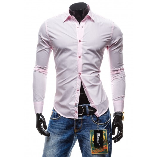Pánska košeľa s dlhým rukávom svetlo ružovej farby
