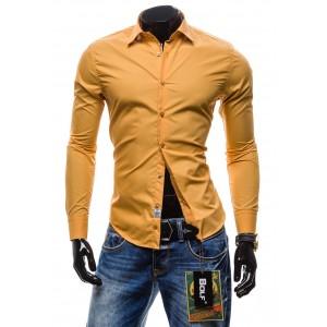 Pánska košeľa s dlhým rukávom karamelovej farby