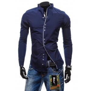 Pánska košeľa s dlhým rukávom granátovej farby