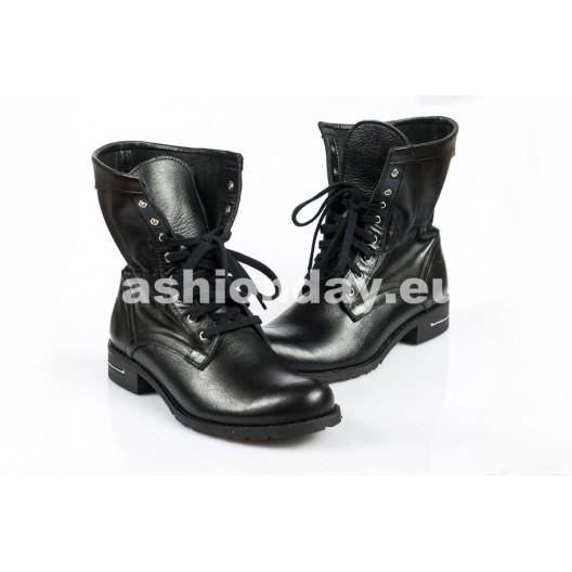 Dámske topánky - čierne, šnurovacie