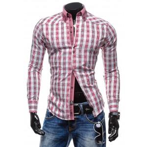 Pánska košeľa s dlhým rukávom bielofialovej farby so štvorcami