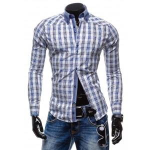 Pánska košeľa s dlhým rukávom bielogranátovej farby so štvorcami