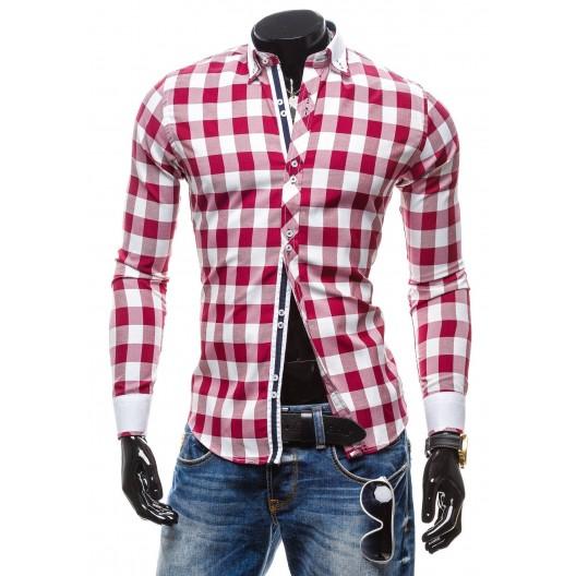 Pánska kockovaná košeľa s dlhým rukávom bielobordovej farby